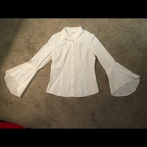 NY&Co White Button Down Bell Sleeve Top